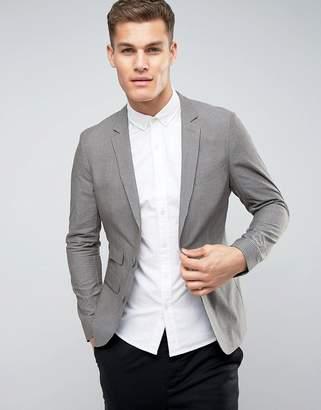 Asos DESIGN Skinny Blazer In Charcoal Seersucker Stripe