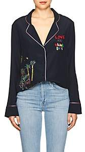 Mira Mikati Women's Venice Beach Embellished Silk Blouse - Navy