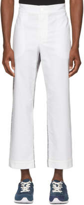 Thom Browne White and Grey Bicolor Pajama Trousers