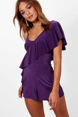 boohoo Madyson Frill One Shoulder Playsuit