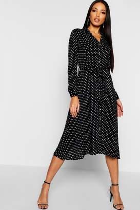 boohoo Horn Button Polka Dot Midi Shirt Dress