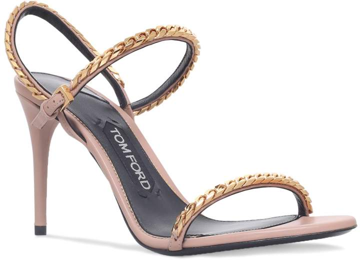 TOM FORD Leather Chain Sandals 80, Beige, IT 38