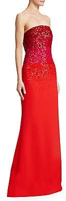 Ahluwalia Women's Tina Ombre Embroidered Strapless Gown