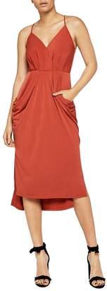 BCBGeneration Sleeveless Faux-Wrap Midi Dress w/ Front Pockets