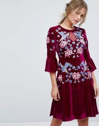 Frock and Frill Frock And Frill Allover Premium Embellished Velvet Skater Dress With Peplum Hem