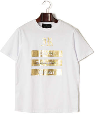 John Richmond T-SHIRT VATALGORDO プリント クルーネック 半袖Tシャツ ホワイト/ゴールド xl