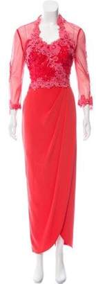 Jovani Guipure Lace-Accented Dress Set Coral Guipure Lace-Accented Dress Set