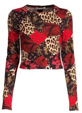 Alice + Olivia Delaina Floral& Leopard Patchwork Top