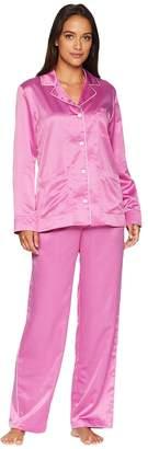 Lauren Ralph Lauren Satin Long Sleeve Notch Collar Pajama Set Women's Pajama Sets