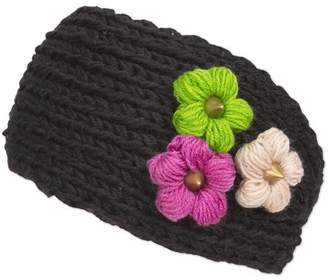 Magid Headwrap with Tri Color Flowers, Black