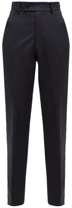 Martine Rose Checked Wool Twill Trousers - Womens - Navy