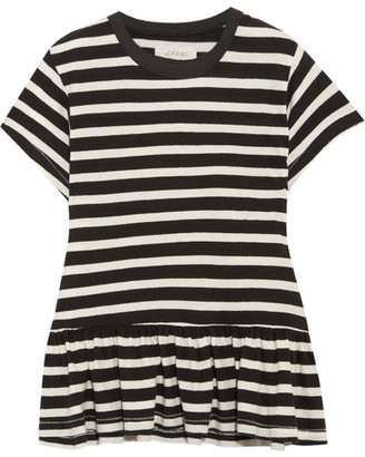 The Great - The Ruffle Striped Cotton-jersey T-shirt - Black $145 thestylecure.com