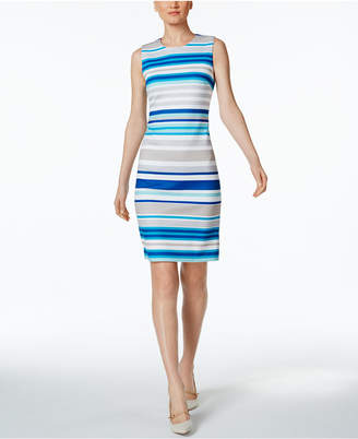 Calvin Klein Striped Scuba Sheath Dress $89.98 thestylecure.com