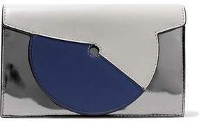 Diane von Furstenberg Soiree Color-Block Matte And Mirrored-Leather Shoulder Bag