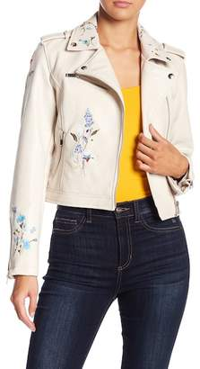 Romeo & Juliet Couture Embroidered Faux Leather Jacket