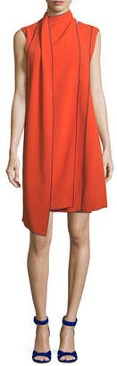 Piazza Sempione Sleeveless Layered Scarf A-Line Dress with Piping