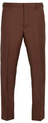 Prada Straight Leg Wool Blend Trousers - Mens - Brown