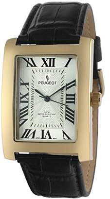 Peugeot Men's Vintage Rectangular Quartz Watch with Leather Strap