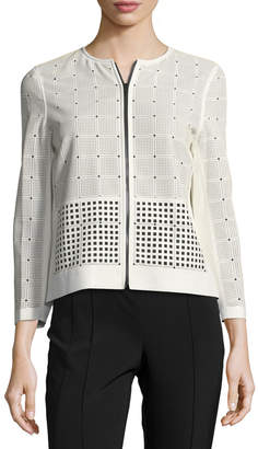Lafayette 148 New York Emma Leather & Fabric Laser-Cut Jacket