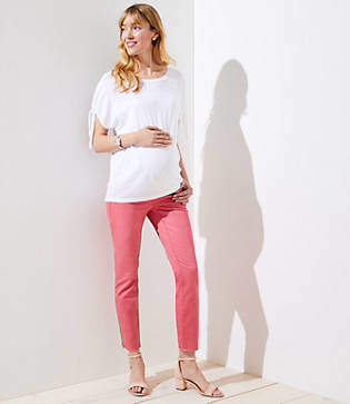 LOFT Petite Maternity Fresh Cut Skinny Crop Jeans in Passion Fruit