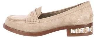 Miu Miu Embellished Suede Loafers