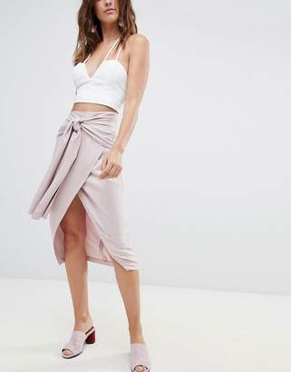 Asos DESIGN Occasion Tie Front Pencil Skirt