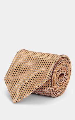 Brioni Men's Neat Silk Jacquard Necktie - Orange
