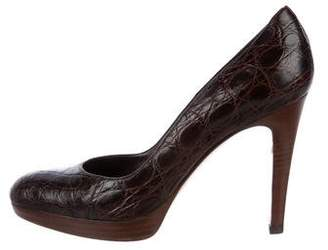 Gianvito Rossi Crocodile Round-toe Pumps