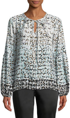 Karl Lagerfeld Paris Tie-Neck Poet Sleeve Blouse