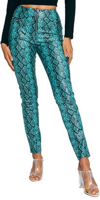 Tiger Mist Pearl Snake Print Faux Leather Pants
