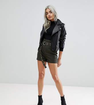Asos DESIGN Petite high waisted peg shorts in khaki with extra long belt
