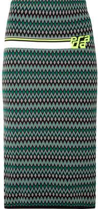 Prada Intarsia-knit Skirt - Green