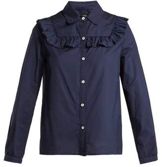 A.P.C. Memphis Check Ruffled Cotton Blouse - Womens - Navy