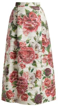Dolce & Gabbana Peony And Rose Print High Rise Midi Skirt - Womens - White Multi