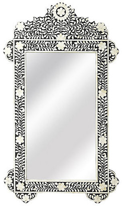 "One Kings Lane Bone 28""x48"" Inlay Oversize Wall Mirror - Black"