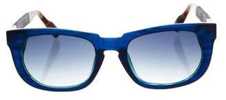 Linda Farrow The Row x Leather-Trimmed Gradient Sunglasses