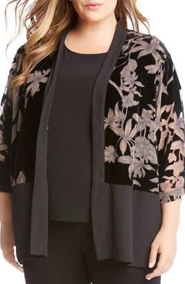 Karen Kane Burnout Velvet Kimono Jacket