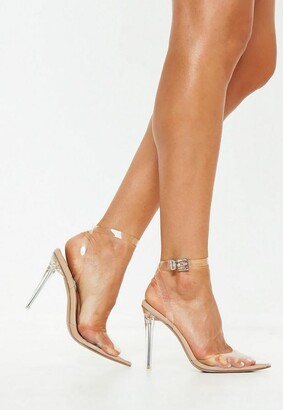 Missguided Nude Clear Ankle Strap Pumps