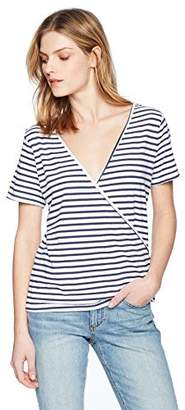 Monrow Women's Stripe TEE W/Crossover Back