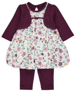 George 2 in 1 Floral Dress and Leggings Outfit