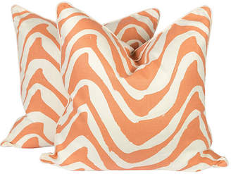 One Kings Lane Vintage Coral & Ivory Linen Zebra Pillows - Set of 2 - Ivy and Vine