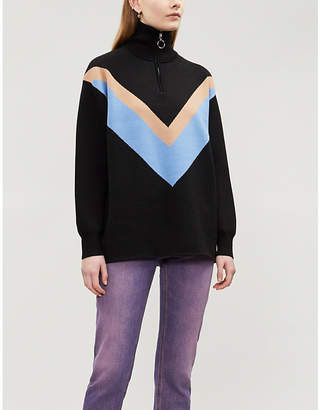 Sandro Chevron detail funnel neck knitted jersey jumper