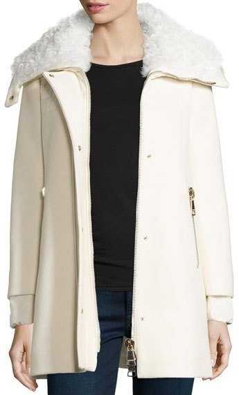 MonclerMoncler Calipso Wool-Blend Coat w/Fur Collar, Ivory