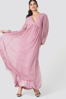 Na Kd Boho Wide Balloon Sleeve Chiffon Dress Dusty Pink 0c0888d32