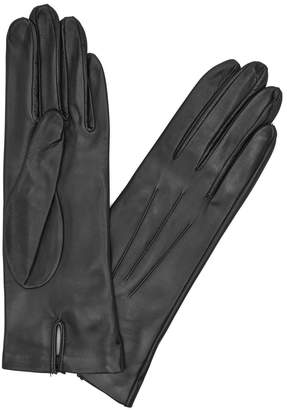 Dents Black Silk-lined Leather Gloves