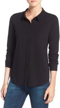 Eileen Fisher Organic Cotton Jersey Classic Collar Shirt