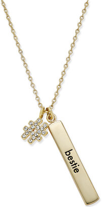 "kate spade new york Gold-Tone Crystal Hashtag ""Bestie"" Bar Charm Pendant Necklace $68 thestylecure.com"