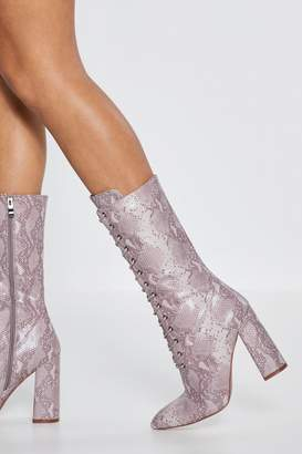 5f829075c1b Nasty Gal Snake of That What You Will Calf Boots