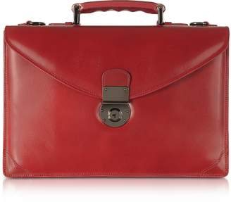 L.a.p.a. Ruby Red Double Gusset Leather Briefcase