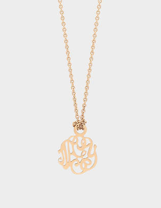 ginette_ny Mini Monogram 18-karat rose gold necklace